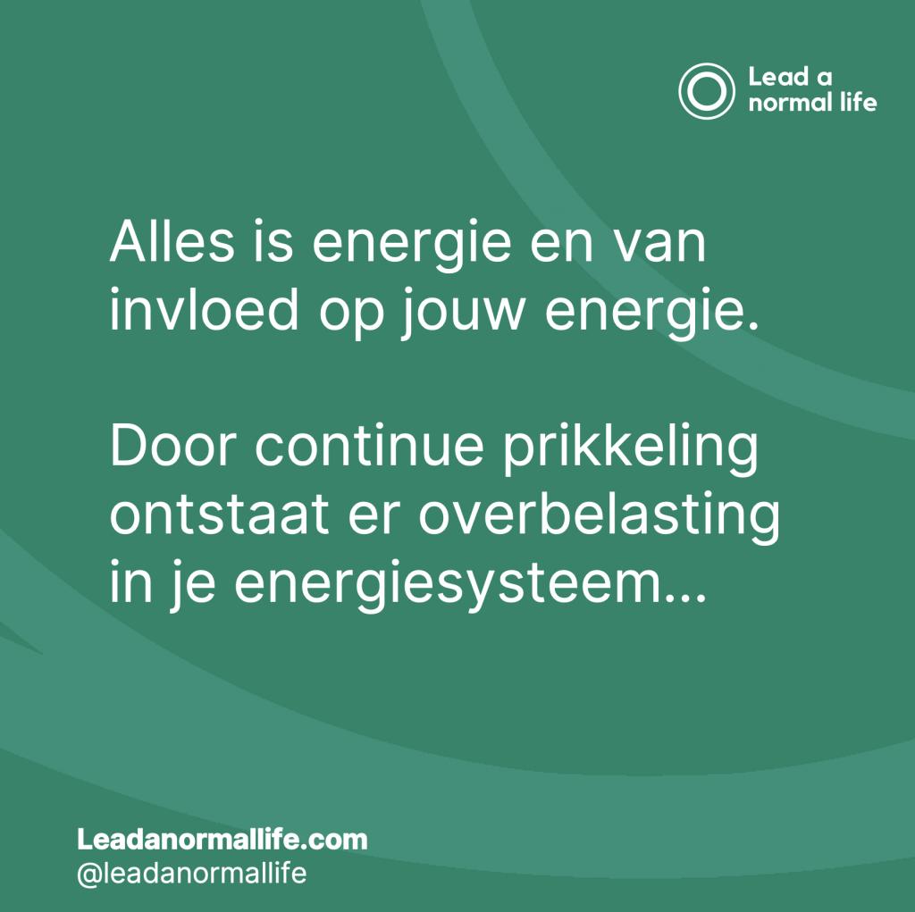 Alles is energie en van invloed op jouw energie. Door continue prikkeling ontstaat er overbelasting in je energiesysteem…
